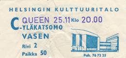 Ticket stub - Queen live at the Helsingin Kulttuuritalo, Helsinki, Finland [25.11.1974]