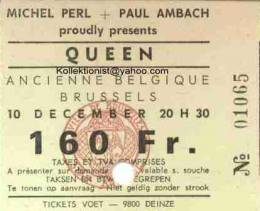Ticket stub - Queen live at the Theatre 140, Brussels, Belgium [10.12.1974]