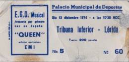 Ticket stub - Queen live at the Palacio Municipal de Deportes, Barcelona, Spain [13.12.1974]