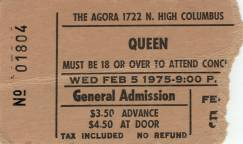 Ticket stub - Queen live at the Agora, Columbus, OH, USA [05.02.1975]