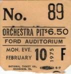 Ticket stub - Queen live at the Ford Auditorium, Detroit, MI, USA [10.02.1975]