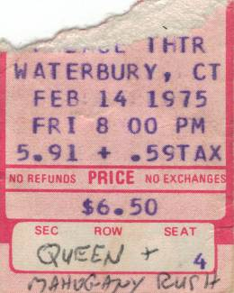 Ticket stub - Queen live at the Palace Theatre, Waterbury, CT, USA [14.02.1975]