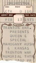Ticket stub - Queen live at the War Memorial, Trenton, NJ, USA [17.02.1975]
