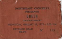 Ticket stub - Queen live at the Armory, Lewiston, ME, USA [19.02.1975]
