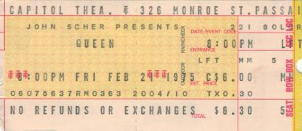 Ticket stub - Queen live at the Capital Theater, Passaic, NJ, USA [21.02.1975]