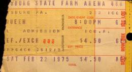 Ticket stub - Queen live at the Farm Arena, Harrisburg, PA, USA [22.02.1975]