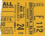 Ticket stub - Queen live at the Kennedy Centre, Washington, DC, USA [24.02.1975]