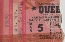 Ticket stub - Queen live at the Mary E Sawyer Auditorium, La Crosse, WI, USA [05.03.1975]