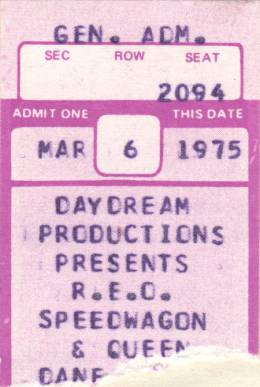 Ticket stub - Queen live at the Dane County Coliseum, Madison, WI, USA [06.03.1975]