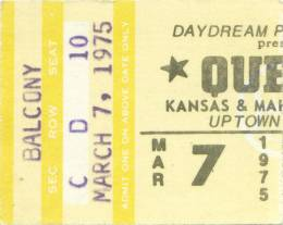 Ticket stub - Queen live at the Uptown Theatre, Milwaukee, WI, USA [07.03.1975]