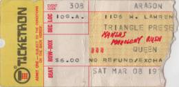Ticket stub - Queen live at the Aragon Ballroom, Chicago, IL, USA [08.03.1975]