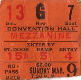 Ticket stub - Queen live at the Kiel Auditorium, St. Louis, MO, USA [09.03.1975]