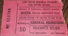 Ticket stub - Queen live at the Coliseum, Fort Wayne, IN, USA [10.03.1975]