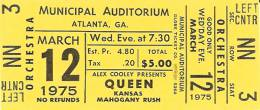 Ticket stub - Queen live at the Municipal Auditorium, Atlanta, GA, USA [12.03.1975]