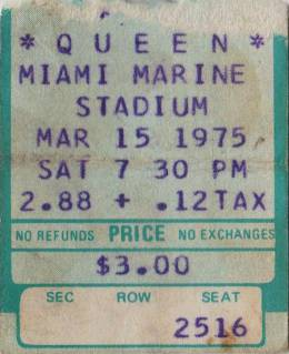 Ticket stub - Queen live at the Marine Stadium, Miami, FL, USA [17.03.1975]