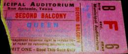 Ticket stub - Queen live at the Municipal Hall, San Antonio, TX, USA [20.03.1975]