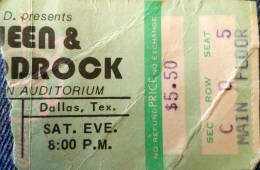 Ticket stub - Queen live at the McFarlin Auditorium, Dallas, TX, USA [22.03.1975]