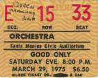 Ticket stub - Queen live at the Santa Monica Civic Auditorium, Santa Monica, CA, USA (1st gig) [29.03.1975]