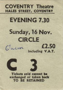 Ticket stub - Queen live at the Theatre, Coventry, UK [16.11.1975]