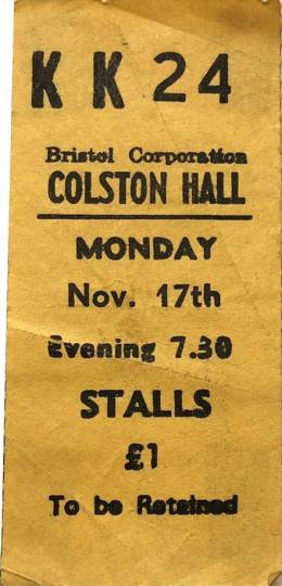 Ticket stub - Queen live at the Colston Hall, Bristol, UK [17.11.1975]
