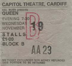 Ticket stub - Queen live at the Capitol, Cardiff, UK [19.11.1975]