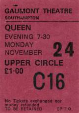 Ticket stub - Queen live at the Gaumont, Southampton, UK [24.11.1975]
