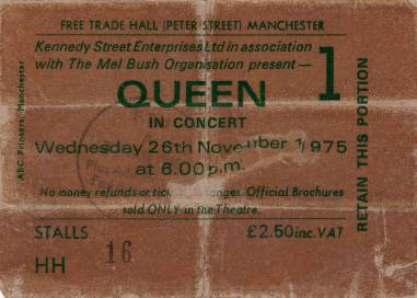 Ticket stub - Queen live at the Free Trade Hall, Manchester, UK (1st gig) [26.11.1975]