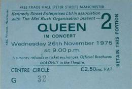 Ticket stub - Queen live at the Free Trade Hall, Manchester, UK (2nd gig) [26.11.1975]