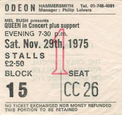 Ticket stub - Queen live at the Hammersmith Odeon, London, UK [29.11.1975]