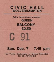 Ticket stub - Queen live at the Civic Hall, Wolverhampton, UK [07.12.1975]