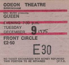 Ticket stub - Queen live at the Odeon, Birmingham, UK [09.12.1975]