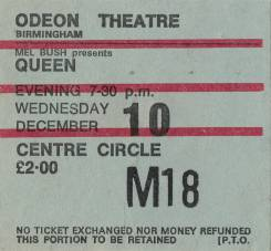 Ticket stub - Queen live at the Odeon, Birmingham, UK [10.12.1975]