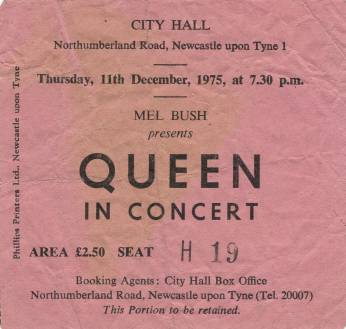 Ticket stub - Queen live at the City Hall, Newcastle, UK [11.12.1975]