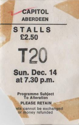 Ticket stub - Queen live at the Capitol, Aberdeen, UK [14.12.1975]