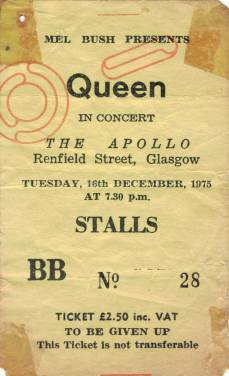 Ticket stub - Queen live at the Apollo Theatre, Glasgow, UK [16.12.1975]