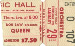 Ticket stub - Queen live at the Music Hall, Boston, MA, USA [29.01.1976]
