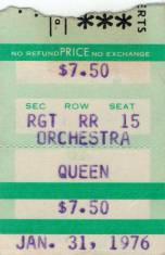 Ticket stub - Queen live at the Tower Theatre, Philadelphia, PA, USA [31.01.1976]