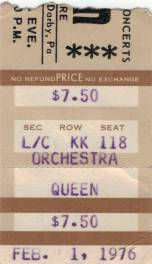 Ticket stub - Queen live at the Tower Theatre, Philadelphia, PA, USA [01.02.1976]