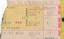 Ticket stub - Queen live at the Beacon Theatre, New York, NY, USA [05.02.1976]