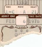 Ticket stub - Queen live at the Beacon Theatre, New York, NY, USA [06.02.1976]