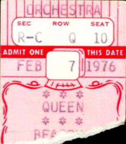 Ticket stub - Queen live at the Beacon Theatre, New York, NY, USA [07.02.1976]