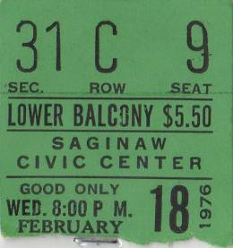 Ticket stub - Queen live at the Civic Centre, Saginaw, MI, USA [18.02.1976]