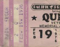 Ticket stub - Queen live at the Veterans Memorial Auditorium, Columbus, OH, USA [19.02.1976]