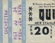 Ticket stub - Queen live at the Stanley Theater, Pittsburgh, PA, USA [20.02.1976]
