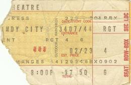 Ticket stub - Queen live at the Auditorium Theater, Chicago, IL, USA [23.02.1976]