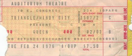 Ticket stub - Queen live at the Auditorium Theater, Chicago, IL, USA [24.02.1976]