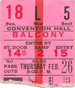 Ticket stub - Queen live at the Kiel Auditorium, St. Louis, MO, USA [26.02.1976]
