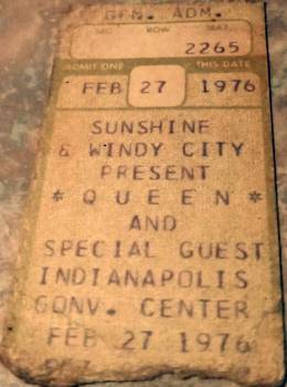 Ticket stub - Queen live at the Convention Centre, Indianapolis, IN, USA [27.02.1976]