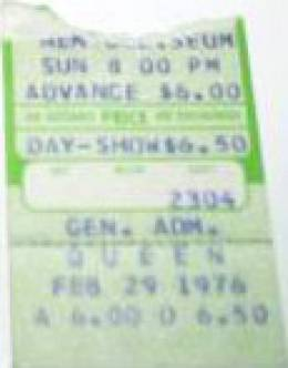 Ticket stub - Queen live at the Coliseum, Fort Wayne, IN, USA [29.02.1976]