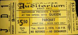 Ticket stub - Queen live at the Auditorium, Milwaukee, WI, USA [02.03.1976]